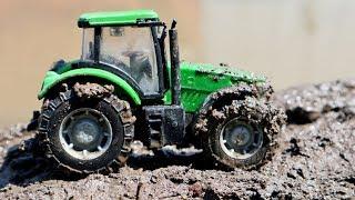 Трактора в грязи. Видео с игрушечными тракторами. Машины для детей
