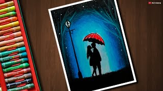 Kissing Couple scenery drawing for beginners with Oil Pastels - step by step