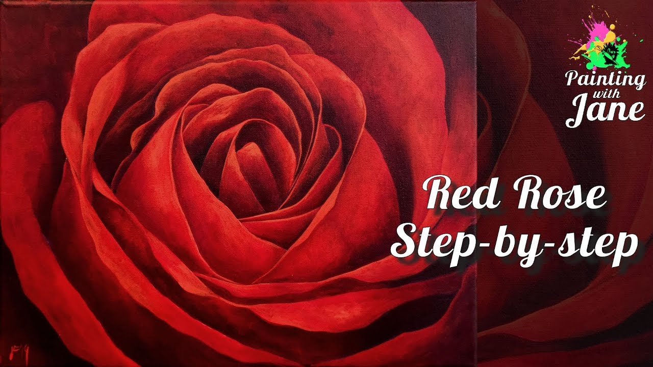 Rose Red Rose Painting Step By Step Acrylic Painting On Canvas For Beginners