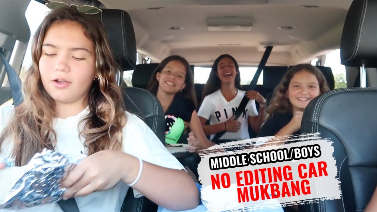 MIDDLE SCHOOL / BOYS ... NO EDITING CAR MUKBANG | SISTER FOREVER