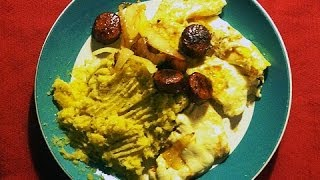 Dominican Bundle Recipe: Mangú, Queso Frito, Fried Sausages, Eggs, Sauteed Onions