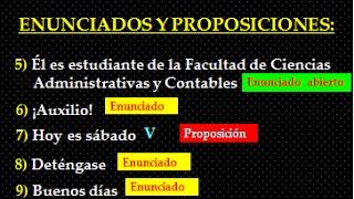 ENUNCIADOS Y PROPOSICIONES - LÓGICA PROPOSICIONAL