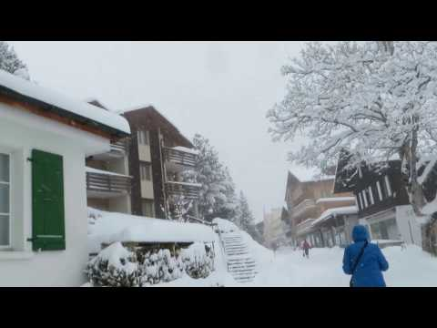 Walking Through Murren . Switzerland .Fairy-tale snowfall . 7 .03.2017
