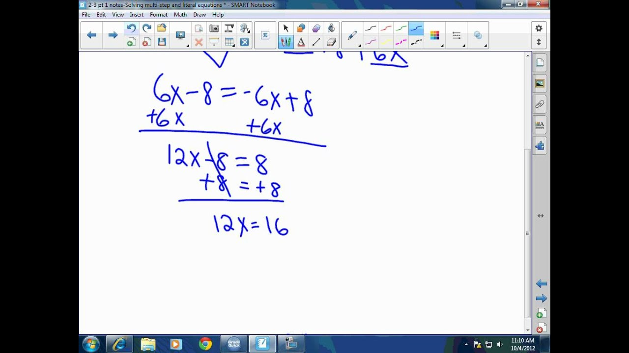 Algebra I Solving MultiStep Equations YouTube – Solving Multi Step Equations Worksheet