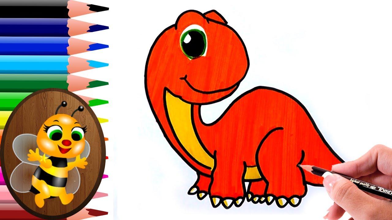 Dibujando Y Pintando Un Dinosaurio Color Anaranjado