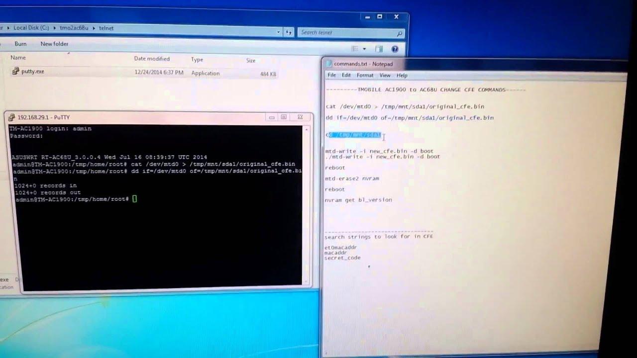 tmo2ac68u tutorial - Flashing CFE - Firmware - Restore Mode - Hex - Telnet  - bootloader