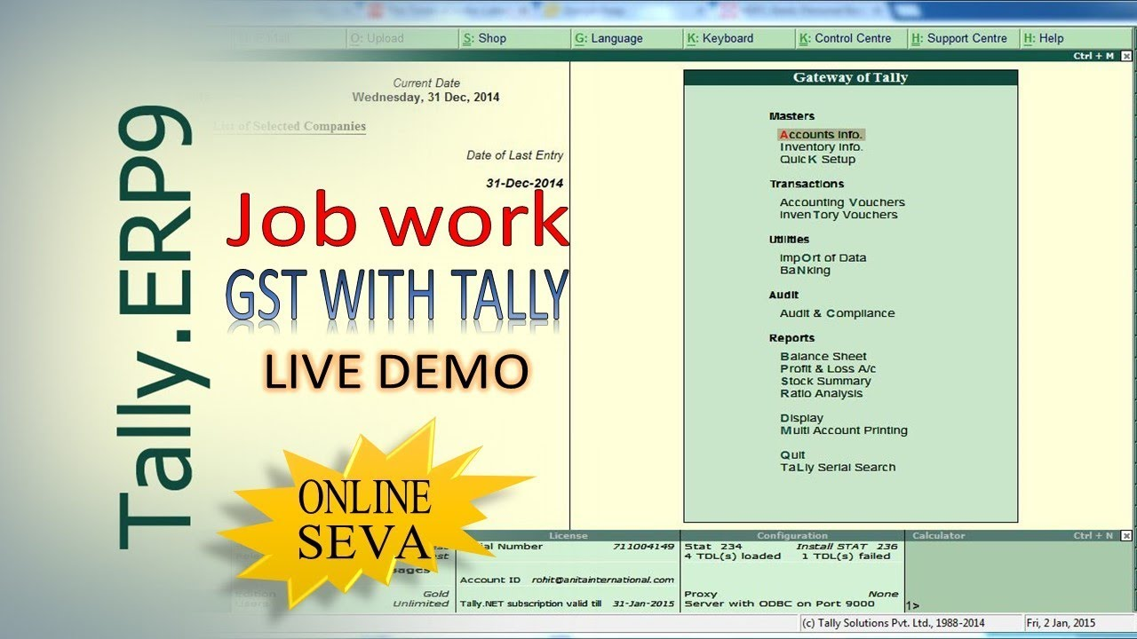 GST TALLY || Job work with GST in Tally ERP9 || Online Seva