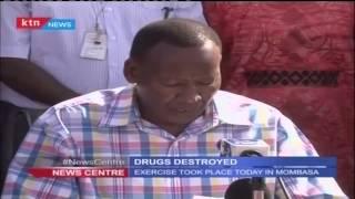 KDF officers destroy a drug yatch at the Coast