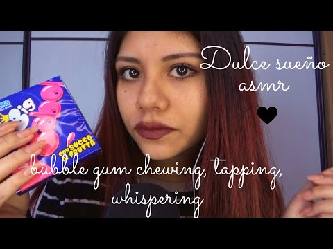 ASMR Español - gum chewing, tapping and whispering / masticando chicle con susurros y visual