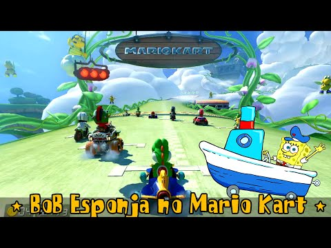 BoB Esponja jogando Mario Kart 8 Online