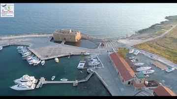 Paphos,Cyprus  Castle & Harbour During coronavirus-4K Drone video. Cyprus 2020 Lockdown.