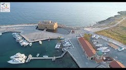 Paphos,Cyprus  Castle & Harbour During coronavirus-4K Drone video. Cyprus 2020 Lockdown.