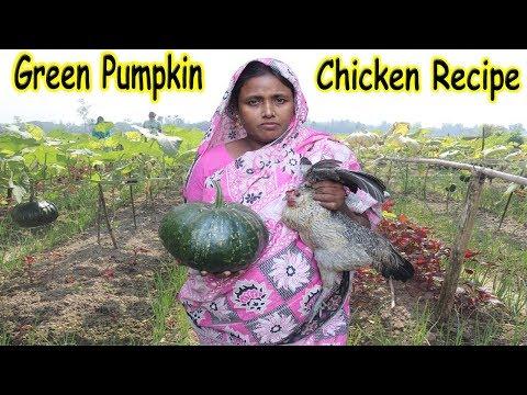 Green pumpkin and Chicken curry FARM FRESH PUMPKIN RECIPE | Village Food