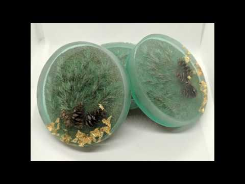Epoxy Resin Coasters Foggy Forest with pine cones and gold leaf