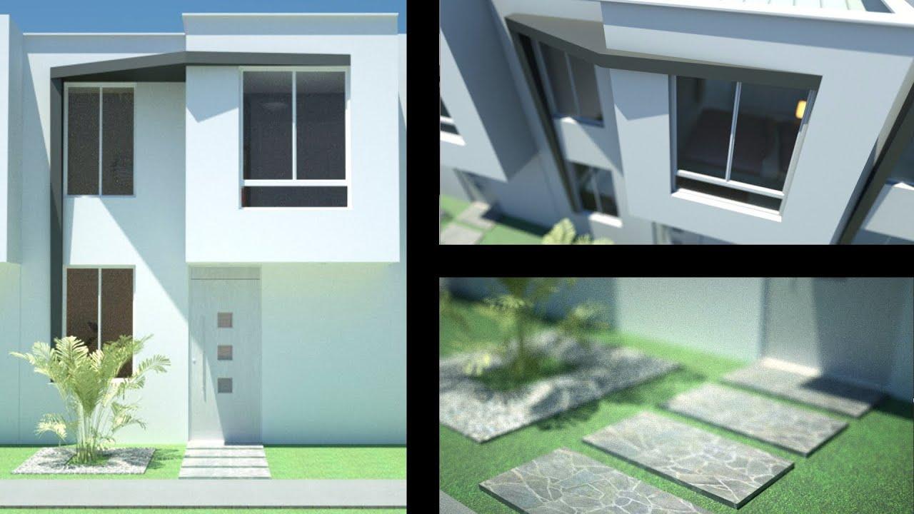 Planos casa moderna de 2 pisos m x m m for Fachadas modernas para casas de tres pisos