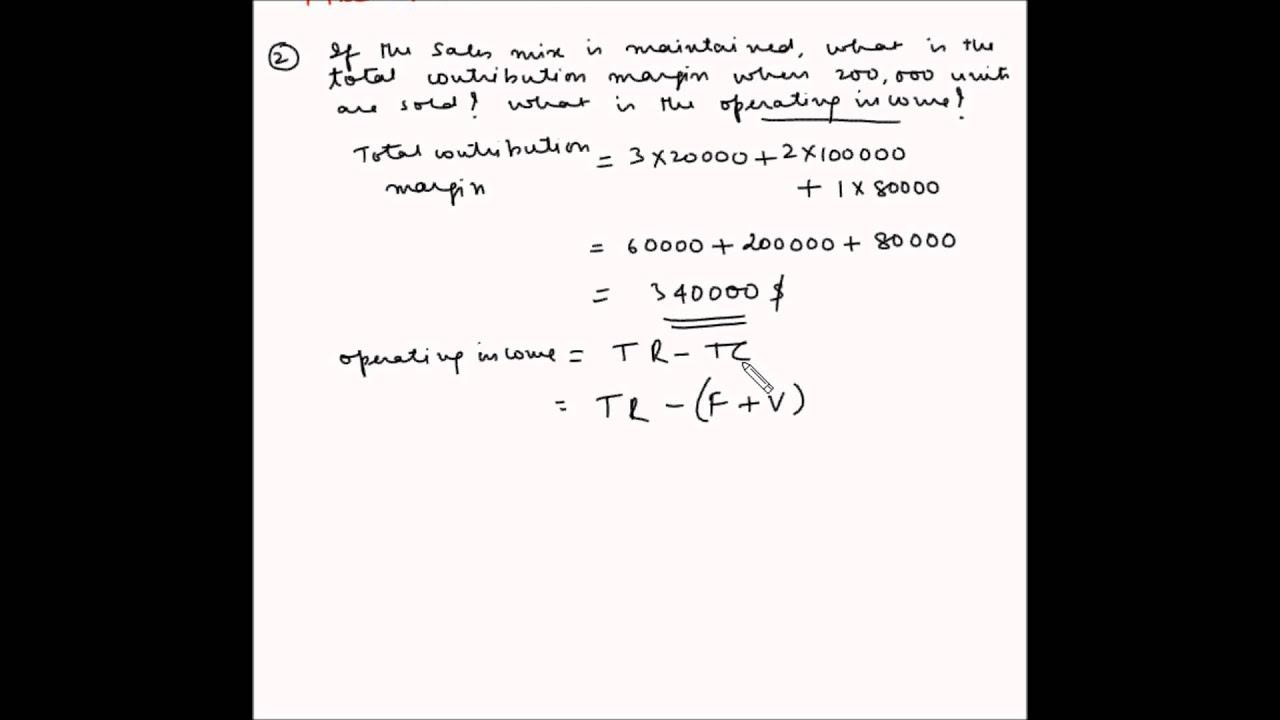 Cost Volume Profit analysis - Example 20 - Sales mix