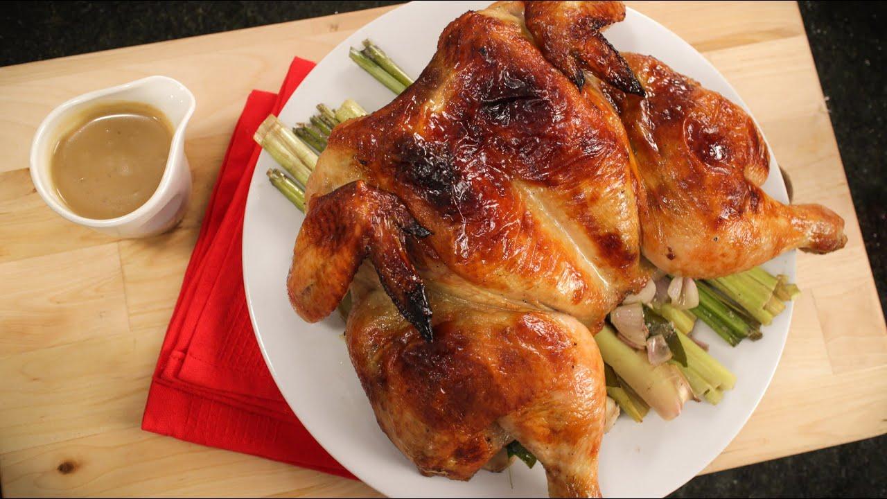 Thai Roast Chicken & Gravy Recipe - ไก่อบสมุนไพร - Hot