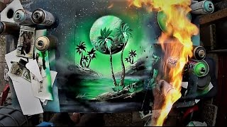 How to draw PALM TREES - SPRAY PAINT tutorial by Skech