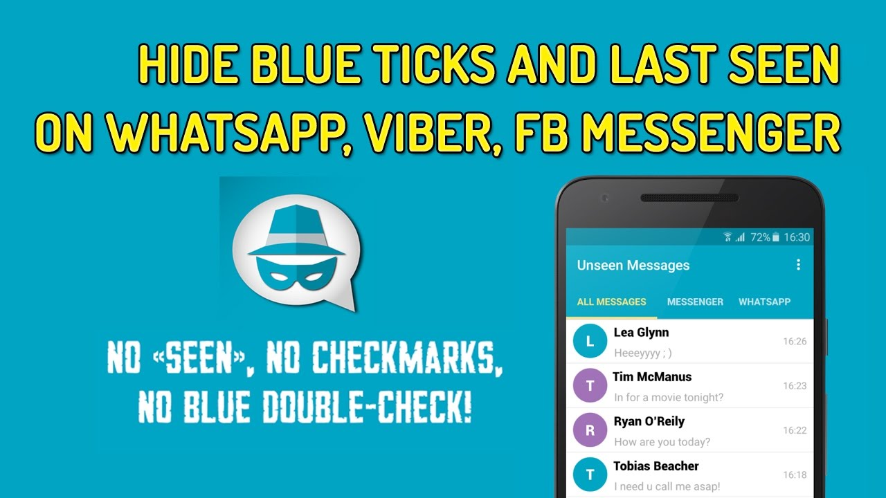 How To Hide Blue Ticks And Last Seen On WhatsApp, Viber, Facebook Messenger  | Unseen App