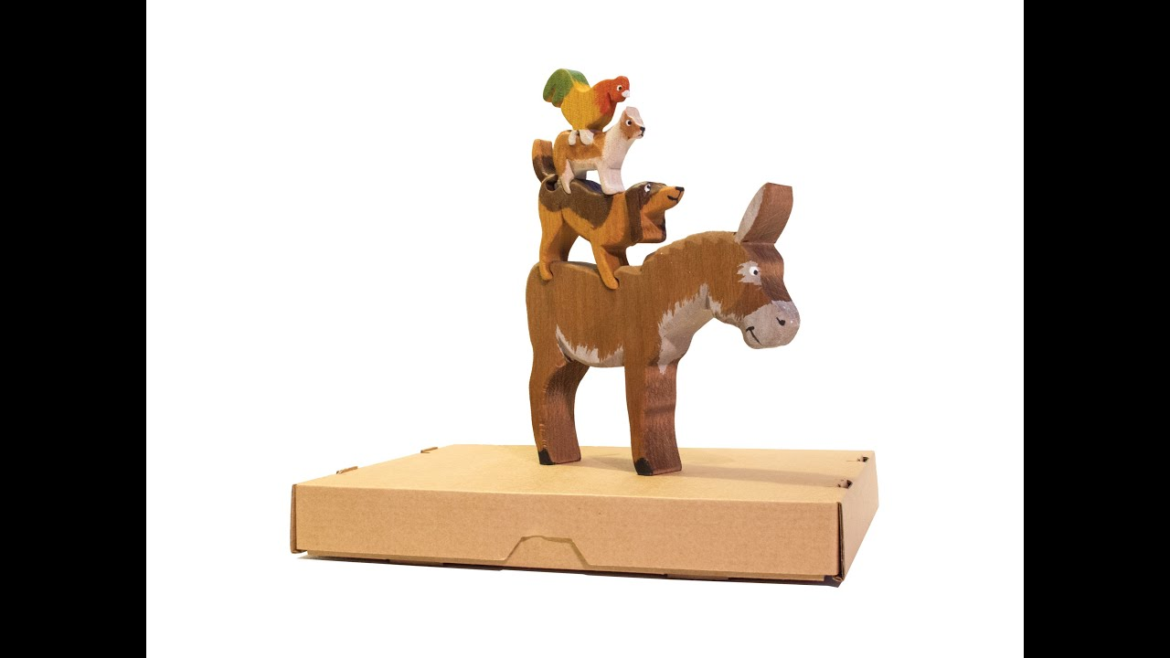HANDMADE WOODEN TOY THE BREMEN TOWN MUSICIANS