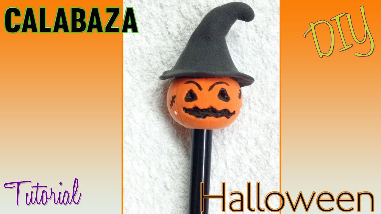 Calabaza Halloween boligrafo decorado porcelana fria / Pumpkin halloween  pen by Rossy Creative