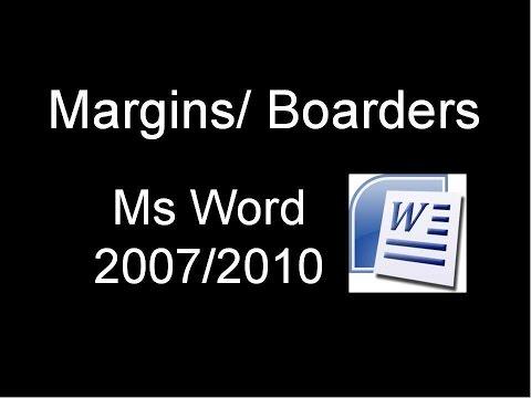 Borders / Margins - Ms Word 2007/2010/2015