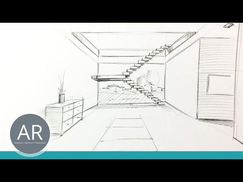 Innenarchitektur zeichnen lernen  Innenarchitektur - ganz einfach skizzieren (3/4). Zeichnen lernen ...