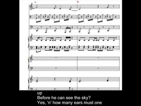 Blowing in the Wind Improvisation With Musical Notation and Karaoke Lyrics