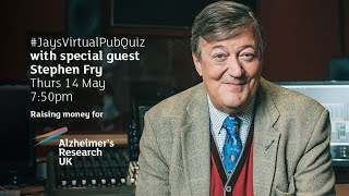 Virtual Pub Quiz, Live! Alzheimers Research UK Special, with Special Guest Stephen Fry! #withme