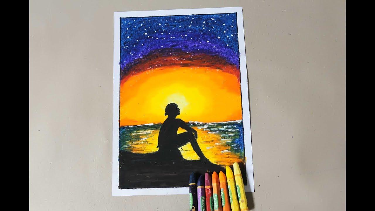 Mewarnai Pemandangan Matahari Terbenam Di Pantai Untuk Pemula Youtube
