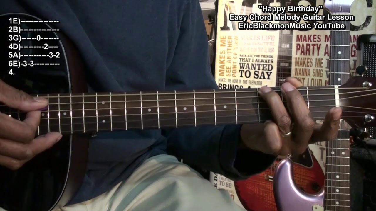 How To Play Happy Birthday 2018 On Guitar Easy Chord Melody Eric