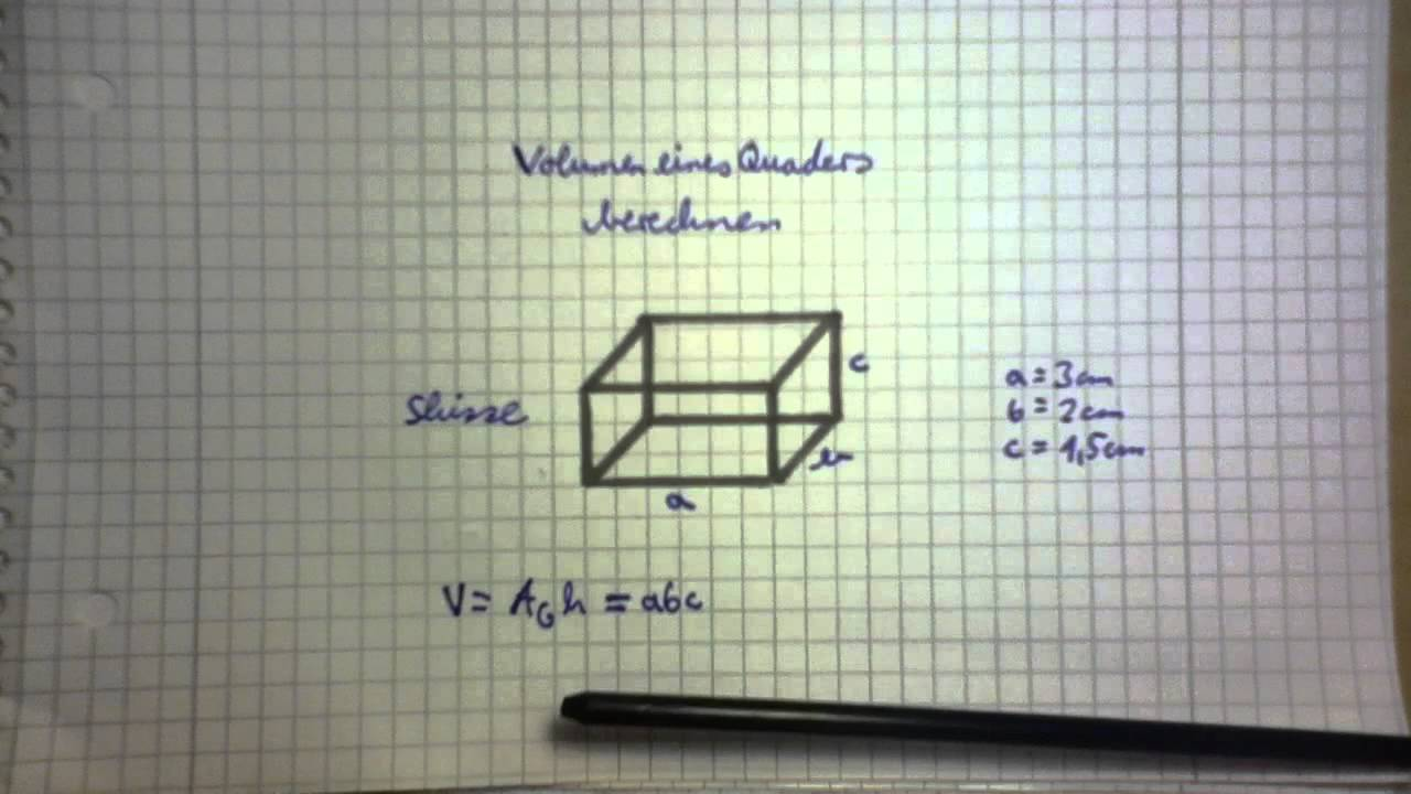 volumenberechnung quader youtube. Black Bedroom Furniture Sets. Home Design Ideas