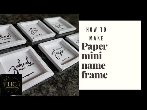 How to make paper mini name frame || easy frame at home || calligraphy name art ||