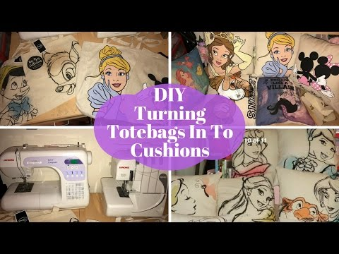 DIY turning a tote bag in to a cushion (Disney DIY)