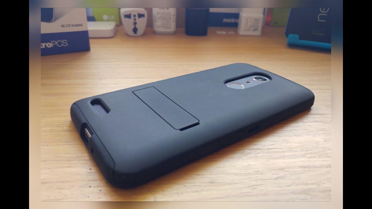 Zte Zmax Pro Metro Pcs Dual Layer Kick Stand Case Youtube