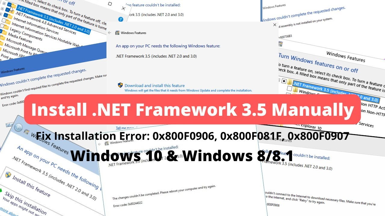 Install Dot  NET Framework 3 5 | Fix  Net Framework Error 0x800F0906,  0x800F081F, 0x800F0907