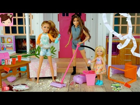 Barbie Dream House Party Fail - Barbie Sisters Make a Huge Mess! Fun Doll Story for Kids