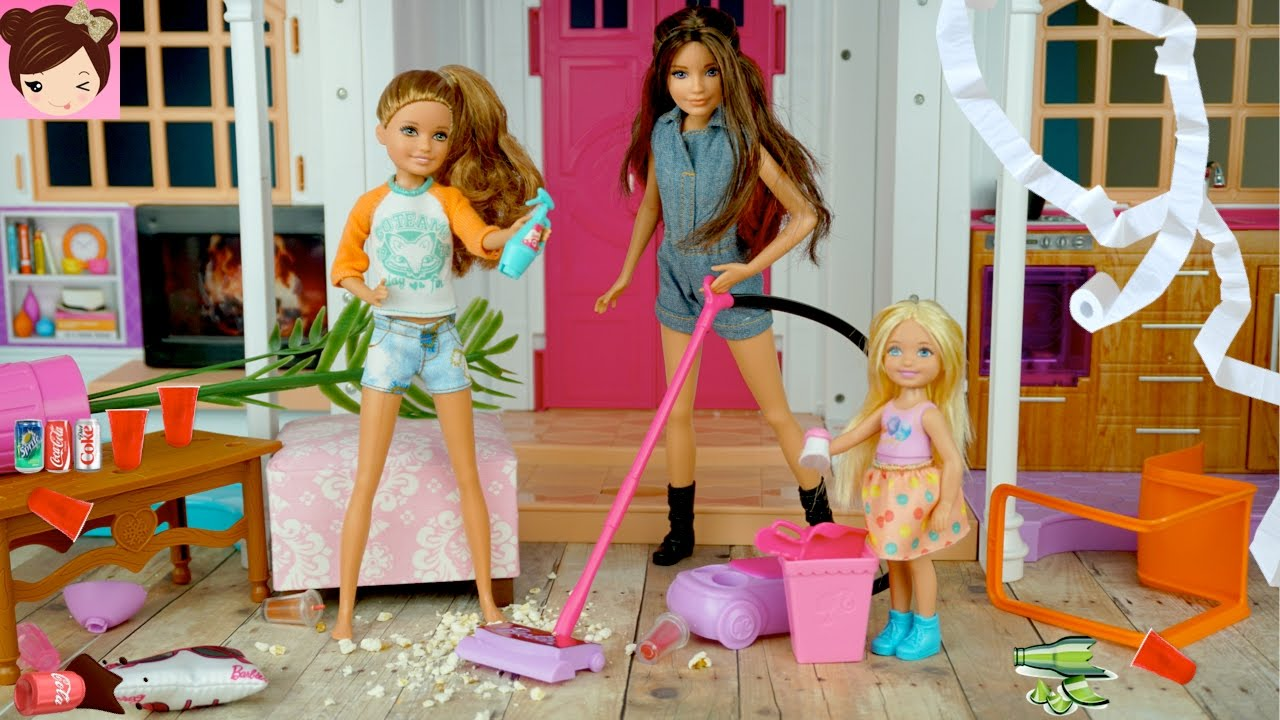 Barbie Dream House Party Fail Barbie Sisters Make A Huge Mess Fun