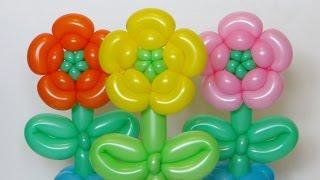 Цветок из шаров, пять лепестков / Five petals flower (Subtitles)(Цветок из шаров пять лепестков - Five petals flower of one balloon twisting Как сделать симпатичный цветочек с пятью лепесткам..., 2015-05-22T13:58:25.000Z)