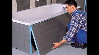Установка ванны на монтажную пену и кирпичи
