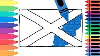 How to Draw Scotland Flag - Drawing the Scottish Flag - Coloring Pages for Kids | Tanimated Toys