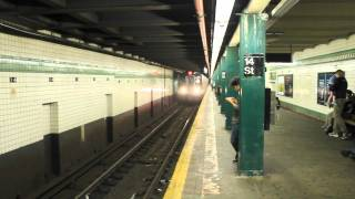 IND Brooklyn, 57th Street & 179th Street Bound R160 (F) and (M) Train at 14th Street on a Saturday