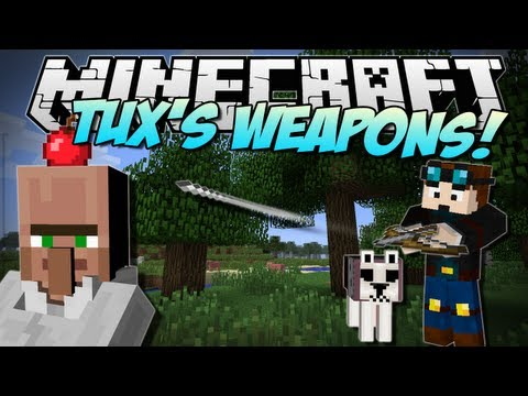 Minecraft | TUX'S WEAPONS! (Flame Guns, Crossbows & More!) | Mod Showcase [1.6.2]