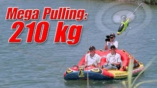 2 model helis pulling a 210kg boat!!! (the Ferrari-Boat Race)