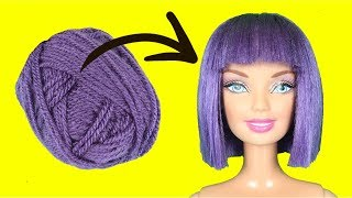 DIY Barbie Hairstyles with Yarn | How To Make Purple Doll Hair for Old Toys