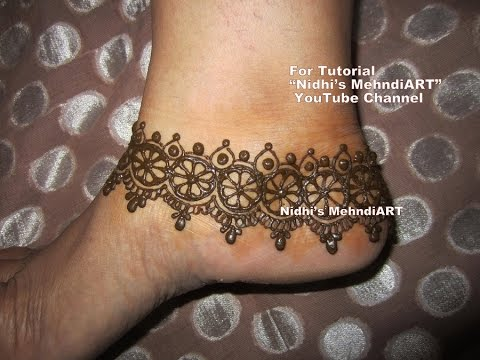 Simple Ankle Mehndi Designs : Simple anklet ornament inspired feet henna mehndi design tutorial