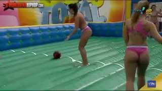 Repeat youtube video Brazilian Women's Slip-N-Slide Soapy Soccer Outdoor inflatable water football games