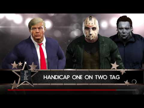 WWE 2K17 Jason Voorhees And Michael Myers VS Donald Trump In A Handicap Match