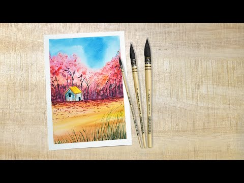 Beautiful Autumn Landscape Watercolor Painting