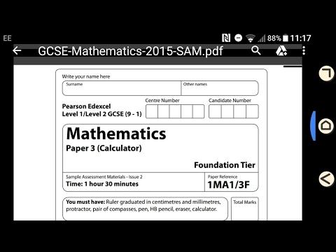 ENTIRE FOUNDATION  CALCULATOR PAPER 3 SAMPLE ASSESSMENT MATERIAL 9-1 GCSE